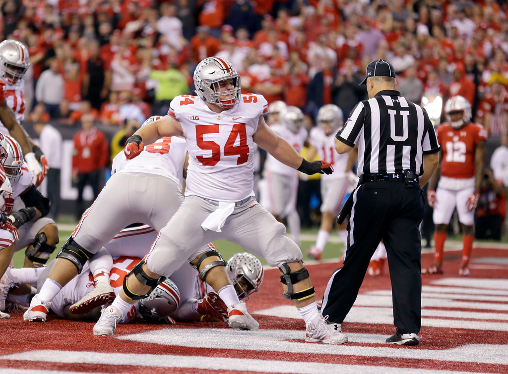 . Ohio State offensive lineman Billy Price celebrates during the first half of the Big Ten championship NCAA college football game against Wisconsin, Saturday, Dec. 2, 2017, in Indianapolis. (AP Photo/Michael Conroy)