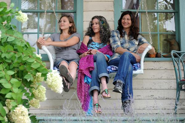 ". Elizabeth Olsen, left, Jane Fonda and Catherine Keener in \""Peace, Love & Misunderstanding\"""