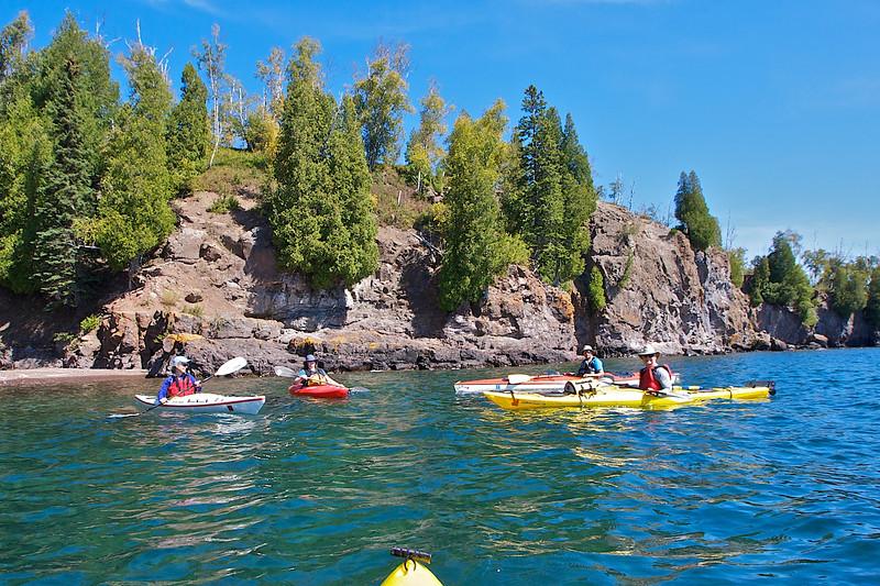 Lake Superior, Nelsen's Creek, Gooseberry Falls State Park MN, 8/19/2012,  Beth, Rosie, Doug, Scott