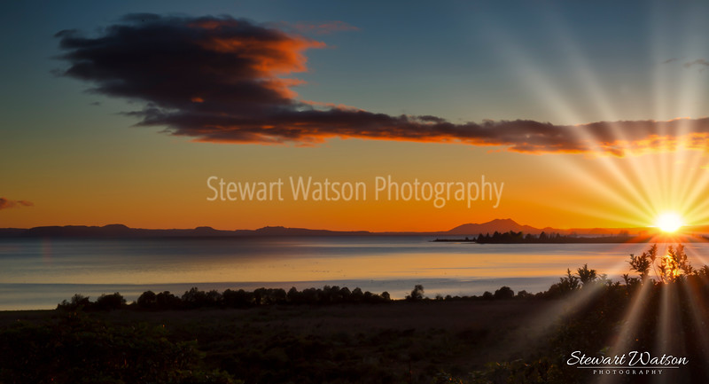 Taupo sun flare over the lake