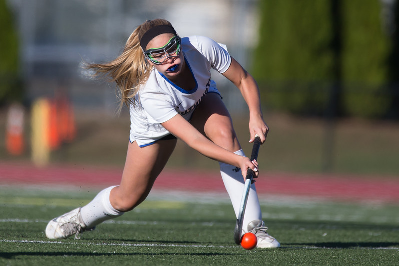 Southington's Lauren Graef gets a shot off Tuesday at Fontana Field in Southington October 17, 2017 | Justin Weekes / For the Record-Journal