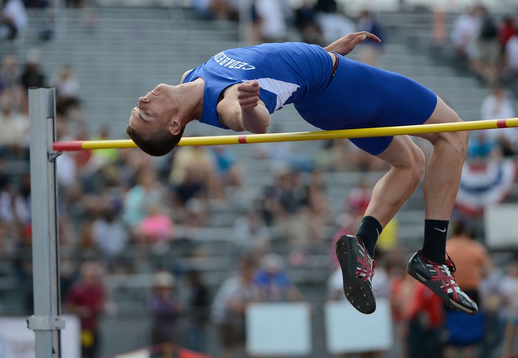 """. LAKEWOOD, CO - MAY 18:  Shane Gates, Cedaredge High School, attempts to clear 6\' 5\"""" during the boys 3A high jump final at the Colorado State Track and Field Championships at Jeffco Stadium, Saturday morning, May 18, 2013. (Photo By Andy Cross/The Denver Post)"""