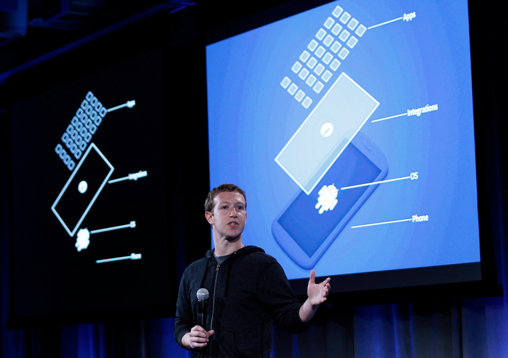 . Mark Zuckerberg, Facebook\'s co-founder and chief executive speaks during a Facebook press event in Menlo Park, California, April 4, 2013.  REUTERS/Robert Galbraith