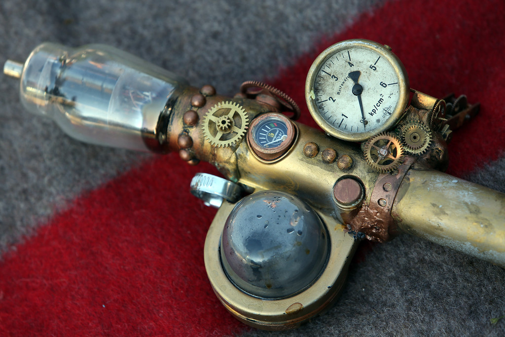 . A Steampunk modified Handpresso hand-powered espresso machine lies on a blanket during a Victorian picnic during the annual Wave-Gotik-Treffen music festival on June 6, 2014 in Leipzig, Germany.  (Photo by Adam Berry/Getty Images)