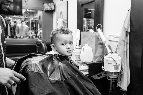 Grey's first haircut at the barber