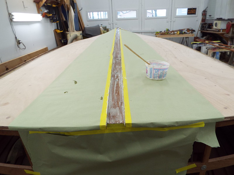 Thickened epoxy added to the area for the keel cap.