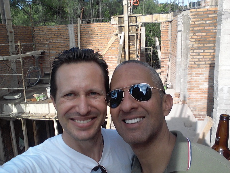 Sam Dike and Ted Davis in front of their house construction in San Miguel 2015.jpg