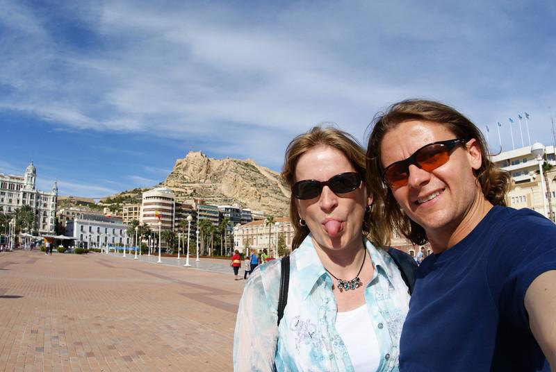 Alicante, Spain.  Santa Barbara Castle in background.  The Attache's tongue in foreground.
