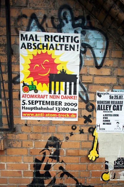 Graffiti and posters on a wall, Berlin, Germany