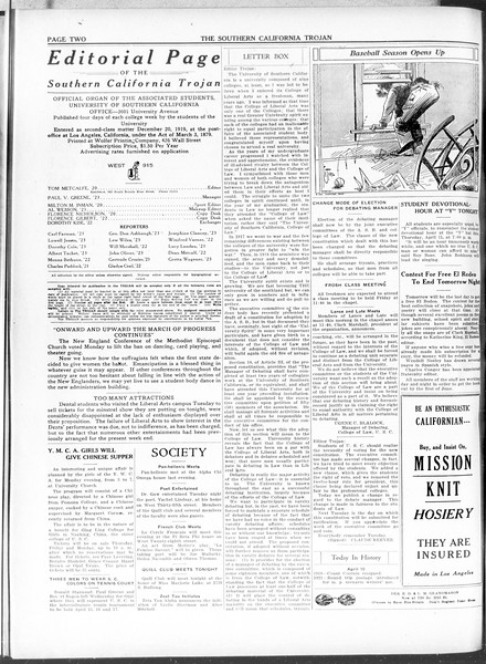 The Southern California Trojan, Vol. 11, No. 84, April 15, 1920