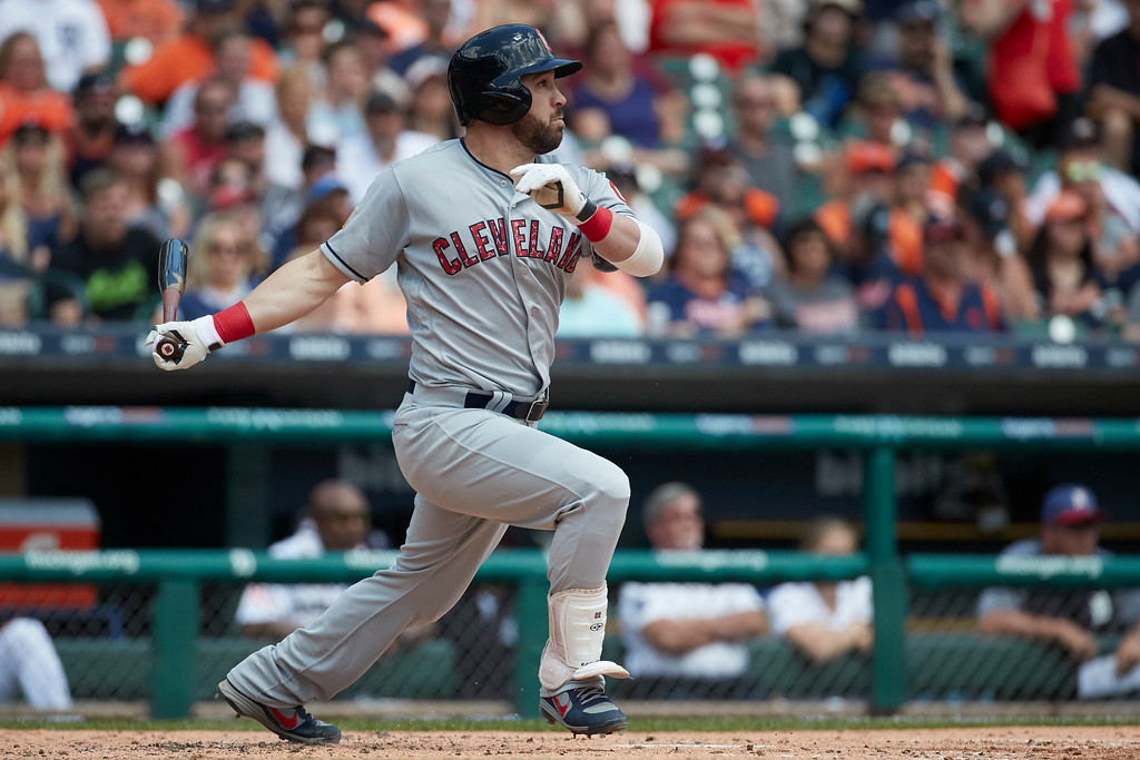 . Cleveland Indians second baseman Jason Kipnis (22) hits a sacrifice fly in the third inning against the Detroit Tigers in the first baseball game of a doubleheader in Detroit, Saturday, July 1, 2017. (AP Photo/Rick Osentoski)