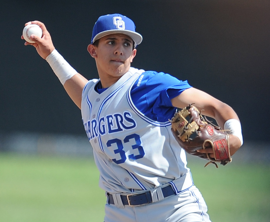 . Charter Oak\'s Oscar Osorio III throws out Duarte\'s Julian Ortega (not pictured) in the second inning of the Championship game of the Gladstone Baseball Tournament at Gladstone High School on Wednesday, April 3, 2013 in Covina, Calif. Charter Oak won 5-3. (Keith Birmingham Pasadena Star-News)