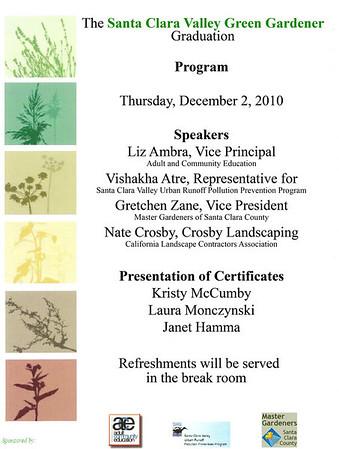 Green Gardener Graduation 12/2/10