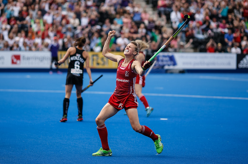 Great Britain's Alex Danson celebrates scoring