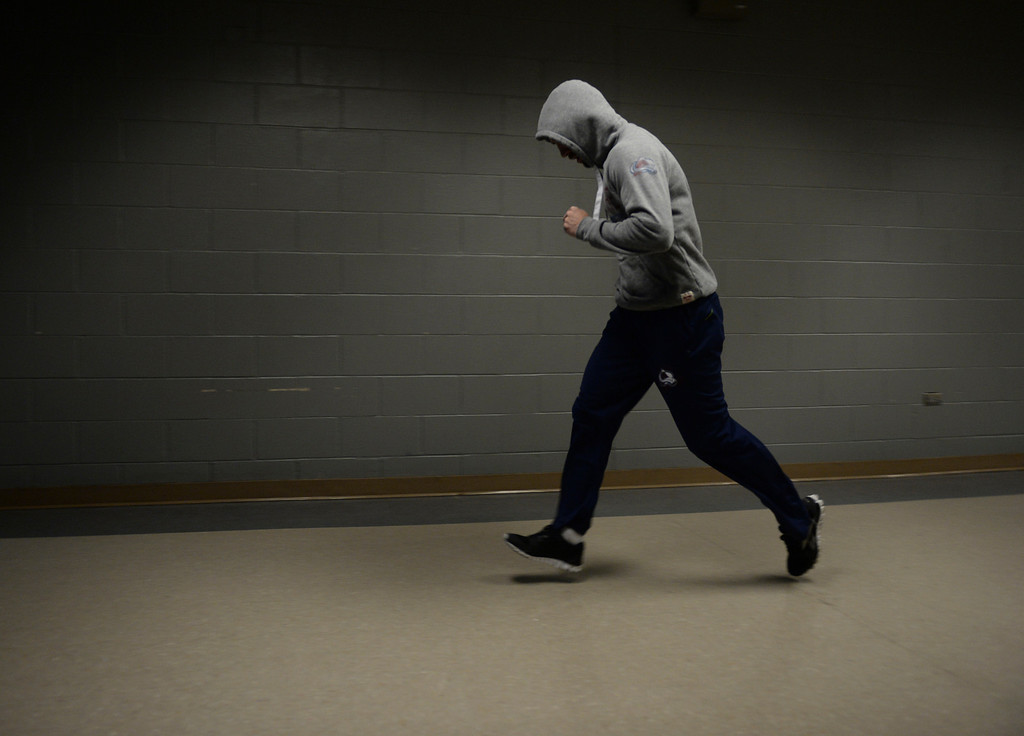. DENVER, CO - APRIL 24: Colorado center Maxime Talbot warmed up in a Pepsi Center hallway before the game. The Colorado Avalanche hosted the Minnesota Wild in the fifth game of a playoff series Saturday night, April 26, 2014. (Photo by Karl Gehring/The Denver Post)
