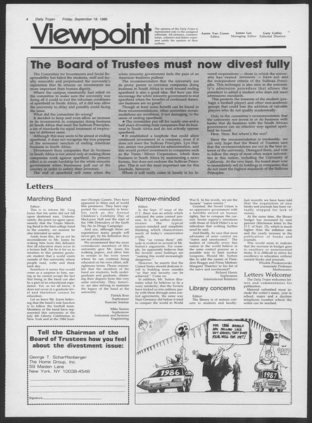 Daily Trojan, Vol. 102, No. 14, September 19, 1986