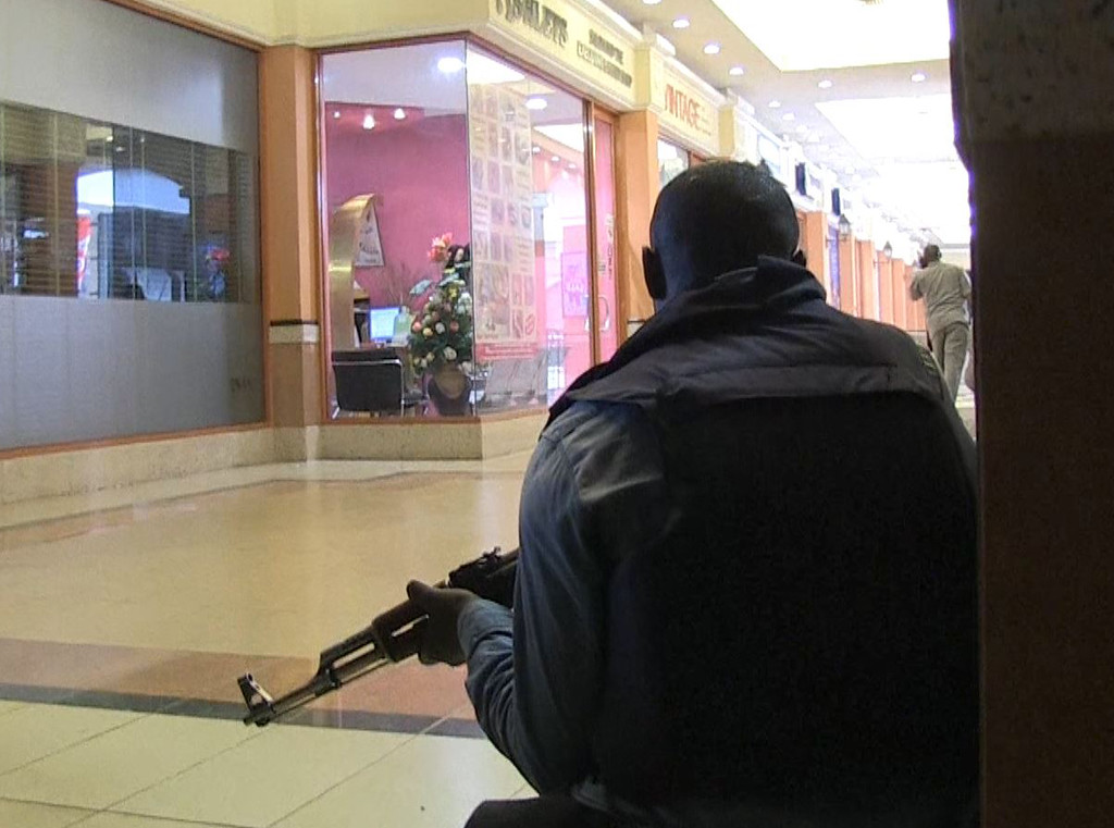 . An image grab taken from AFP TV shows a member of the Kenyan security forces taking position inside a shopping mall following an attack by masked gunmen in Nairobi on September 21, 2013. AFP PHOTO/AFPTV/NICHOLE Sobecki/AFP/Getty Images