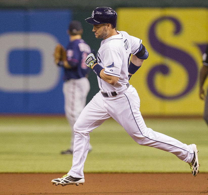 . Luke Scott of the Tampa Bay Rays rounds the bases on a solo homer during the first inning against the Minnesota Twins on Monday. (James Borchuck/Tampa Bay Times/MCT)