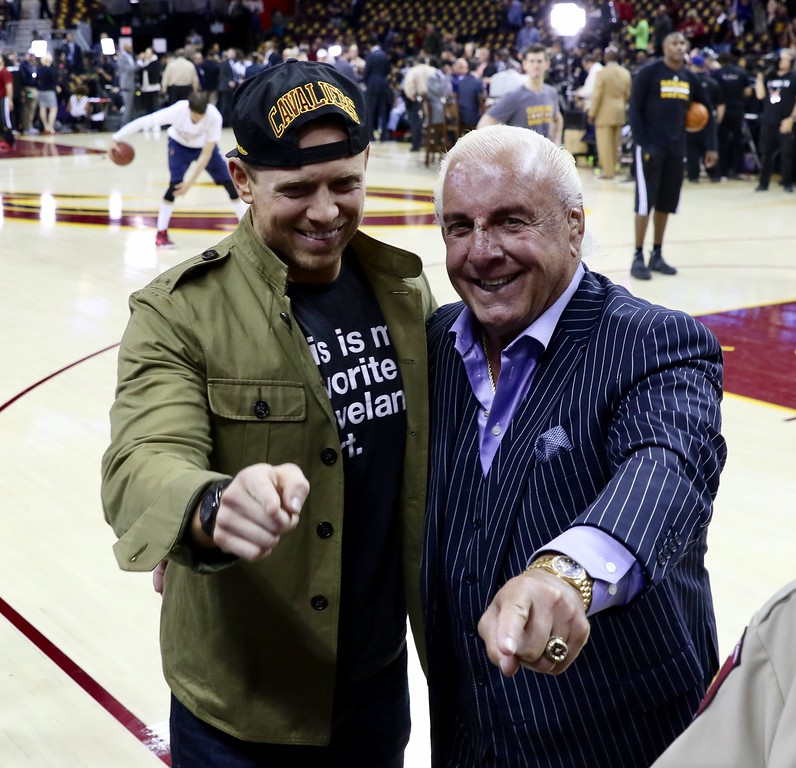 . Tim Phillis - The News-Herald WWE\'s the Miz and Ric Flair before Game 3 of the NBA Finals between the Cavaliers and Warriors on June 7 in Cleveland.