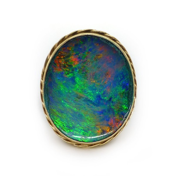 VINTAGE 9CT GOLD AUSTRALIAN OPAL DOUBLET STATEMENT RING