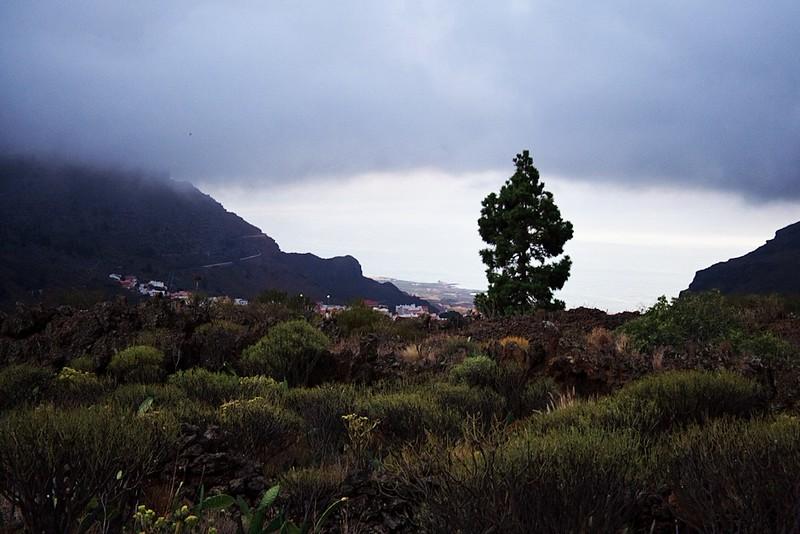 Pohled od El Retamar dolů k pobřeží a Puertu de Santiago
