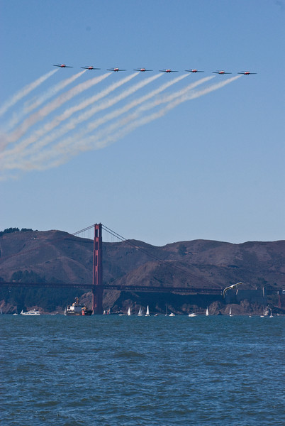 The pre-blue angels planes flying over the Golden Gate Bridge
