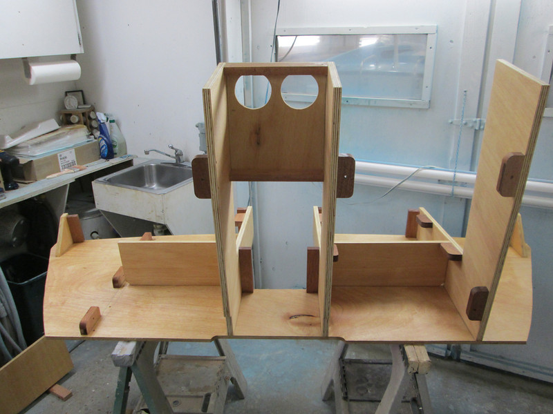 Seat frame with epoxy applied.