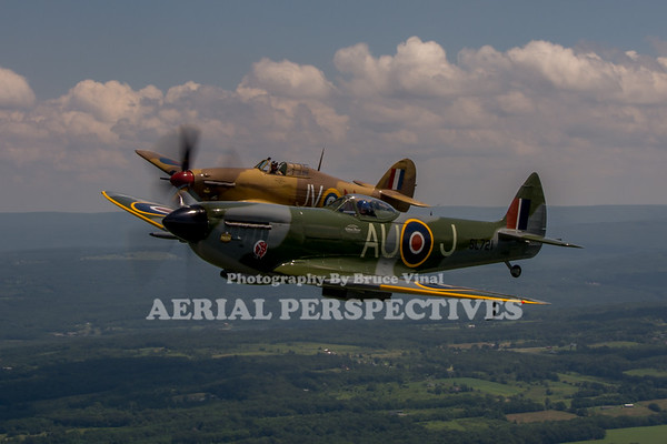 Spitfire/Hurricane Flight Geneseo 7/14/13  C-GVZB CF-TPM