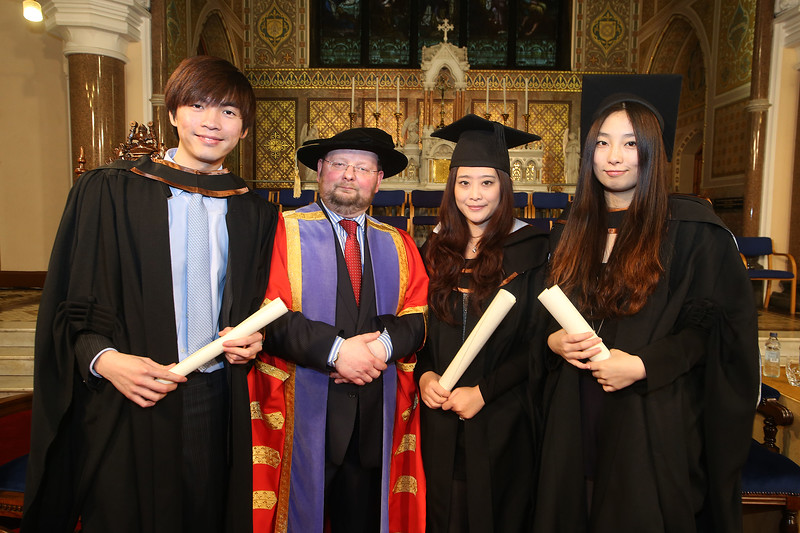 Pictured is Shi Huarun who graduated Bachelor Of Arts (Hons) in Finance and Investments, Zhi Chen and Jia Gua who graduated Bachelor in Arts (Honours) in Accounting, also in photo is Dr. Derek O'Byrne, Registrar of Waterford Institute of Technology (WIT). Picture: Patrick Browne