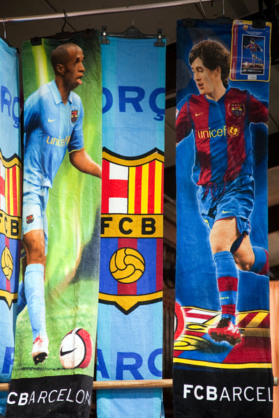 Toallas alusivas al FC Barcelona, Mercado de San Antonio, Barcelona