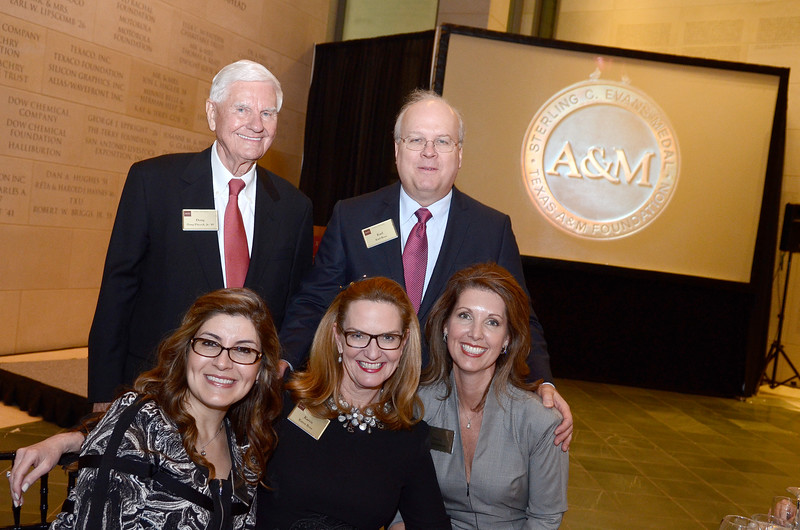 Corina Dominguez, Karen Rove, Pennie Johnson, Doug Pitcock jr. '49, Karl Rove