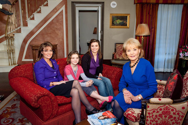". In this photo released by ABC, Barbara Walters, right, is seen during an interview with former Alaska Governor and Republican Vice-Presidential candidate Sarah Palin, left, and her daughters Piper, center left, and Willow Palin, at a New York City hotel, Friday, Nov. 13, 2009. The interview will air in segments starting with ""Good Morning America,\"" on Monday, Nov. 17. (AP Photo/ABC, Steve Fenn)"