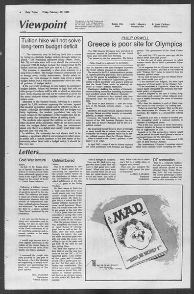 Daily Trojan, Vol. 88, No. 18, February 29, 1980