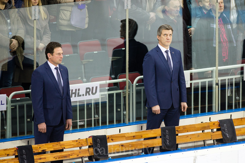 Head coach of Dinamo Riga Normunds Sejejs and assistant coach Sandis Ozolins in the opening ceremony ofthe KHL regular championship game between Dinamo Riga and Severstal Cherepovets, played on January 3, 2017 in Arena Riga