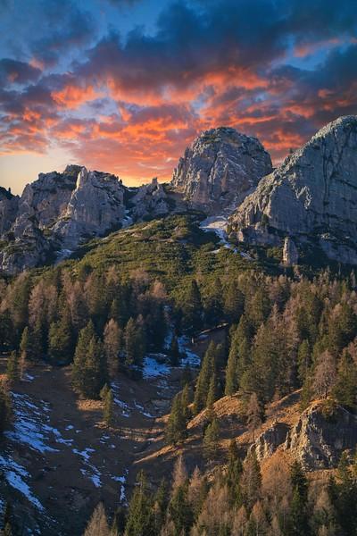 Dolomites sky on fire