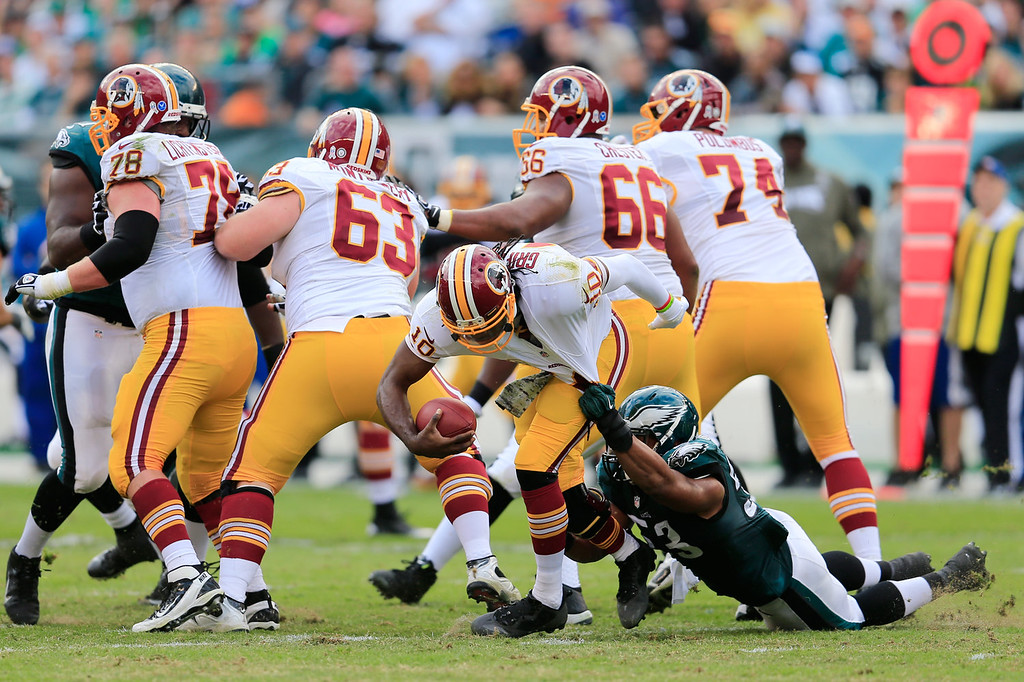 . Linebacker Najee Goode #53 of the Philadelphia Eagles sacks quarterback Robert Griffin III #10 of the Washington Redskins during the first half at Lincoln Financial Field on November 17, 2013 in Philadelphia, Pennsylvania.  (Photo by Rob Carr/Getty Images)