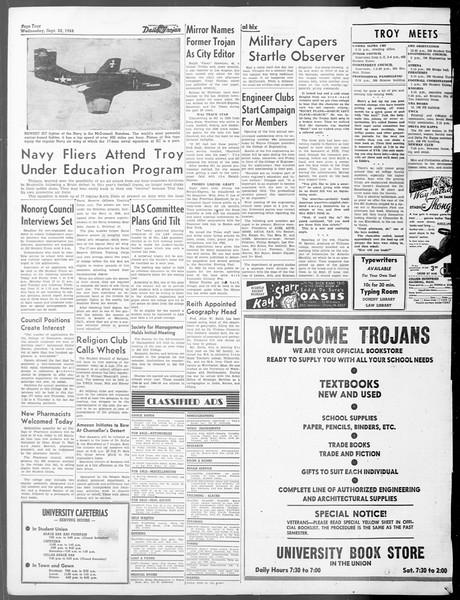 Daily Trojan, Vol. 40, No. 8, September 22, 1948