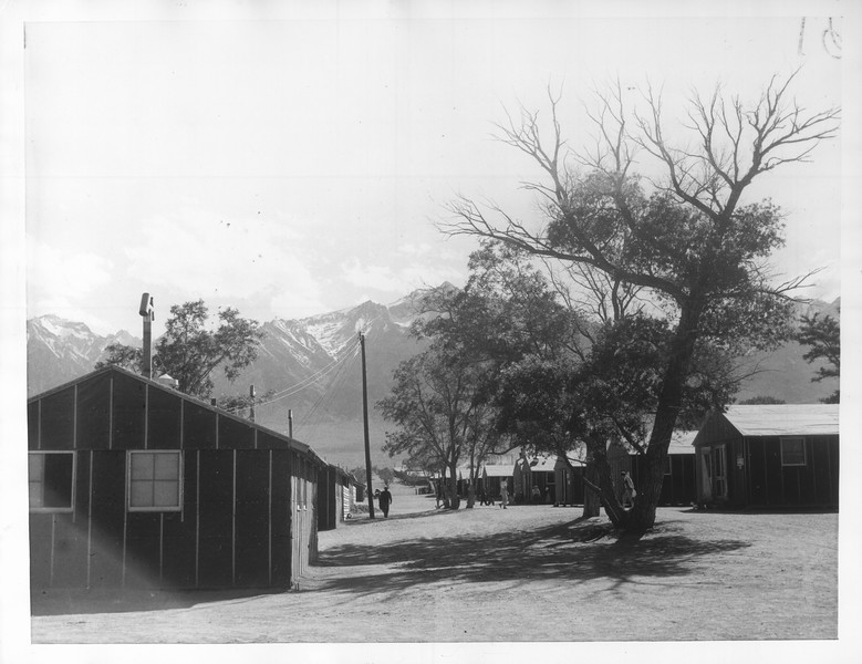 """""""View of quarters at Manzanar, a War Relocation Authority center where evacuees of Japanese ancestry will spend the duration.  Mount Whitney, highest peak in the United States, in the background.""""--caption on photograph"""