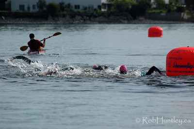 2009 Ottawa Riverkeeper Triathlon. A group of swimmers rounding one of the buoys.  © Rob Huntley
