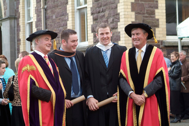 At the conferring of Academic Awards at Waterford Institute of Technology were from left: Kieran R. Byrne, Director, WIT; Diarmuid Gleeson, Nenagh, Co. Tipperary (BSc (Hons) in Construction Management and Engineering); Philip Brennan, Ennis, Co. Clare (BSc in Architectural Technology) and Redmond O'Donoghue, Chairman, WIT. (pic-photozone)