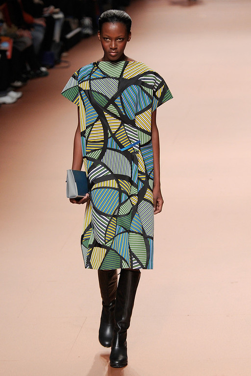. PARIS, FRANCE - FEBRUARY 28:  A model walks the runway during the Issey Miyake show as part of Paris Fashion Week Womenswear Fall/Winter 2014-2015 on February 28, 2014 in Paris, France.  (Photo by Kristy Sparow/Getty Images)