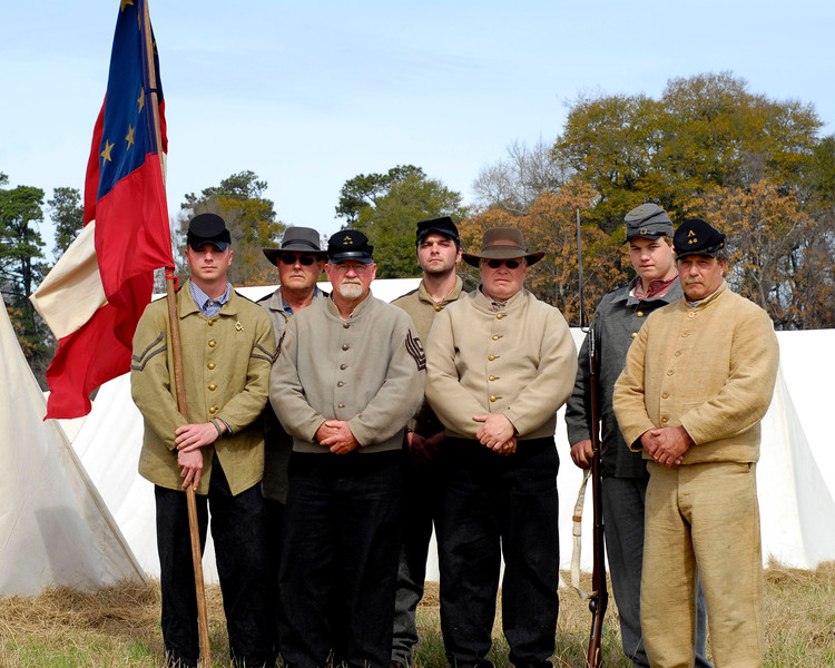 Members of the 46th North Carolina Infantry, Company A pose for a shot. The Skirmish at Gamble's Hotel happened on March 5, 1885 when 500 federal soldiers, under the command of Reuben Williams of the 12th Indiana Infantry, marched into Florence to destroy the railroad depot but were met by Confederate soldiers backed up with 400 militia. The reenactment, held by the 23rd South Carolina Infantry, was held at the Rankin Plantation in Florence, South Carolina on Saturday, March 5, 2011. Photo Copyright 2011 Jason Barnette