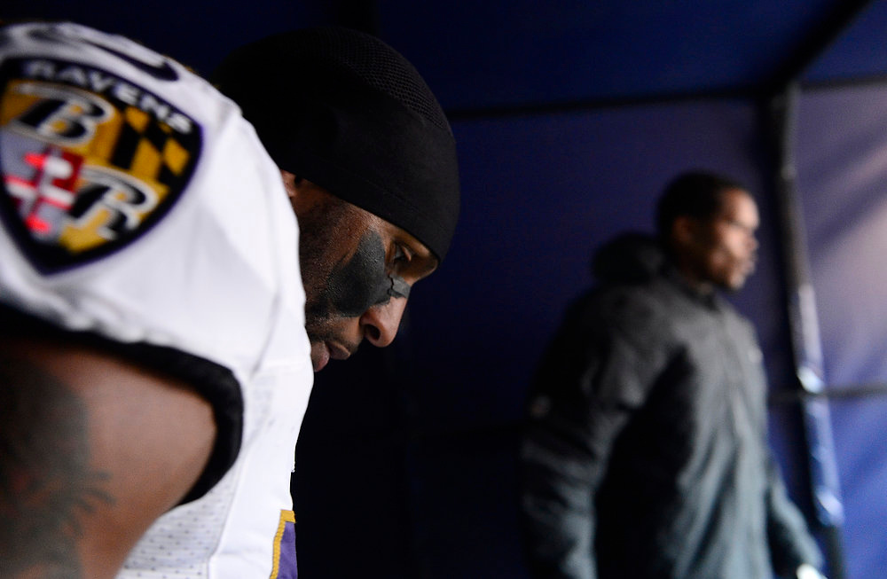. Baltimore Ravens inside linebacker Ray Lewis (52) waits to run onto the field before the start of the game. The Denver Broncos vs Baltimore Ravens AFC Divisional playoff game at Sports Authority Field Saturday January 12, 2013. (Photo by AAron  Ontiveroz,/The Denver Post)