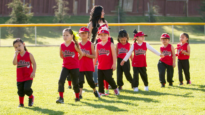 The Bulldogs, a 4 to 6-year old T-ball team celebrates the opening of the 2017 Woodlake Youth Baseball and Softball season.