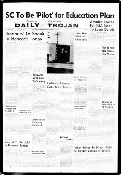 Daily Trojan, Vol. 49, No. 71, February 21, 1958