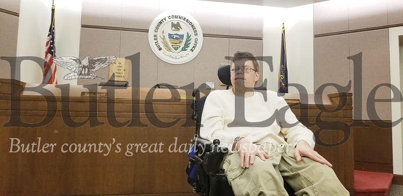 Eric Simonsen attended the county commissioners meeting on Wednesday to share his concern about the lack of staff at the facility in Slippery Rock where he lives.