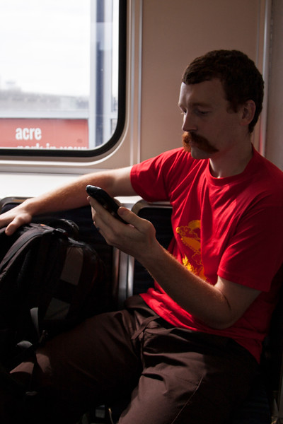 John riding the EL in Seattle for a quick adventure.