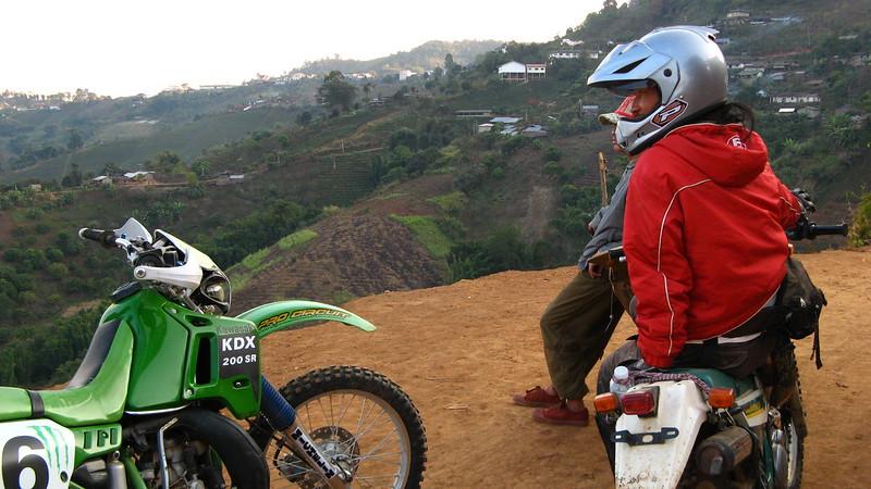 Sa-ngiam admiring the view coming back into Mae Salong