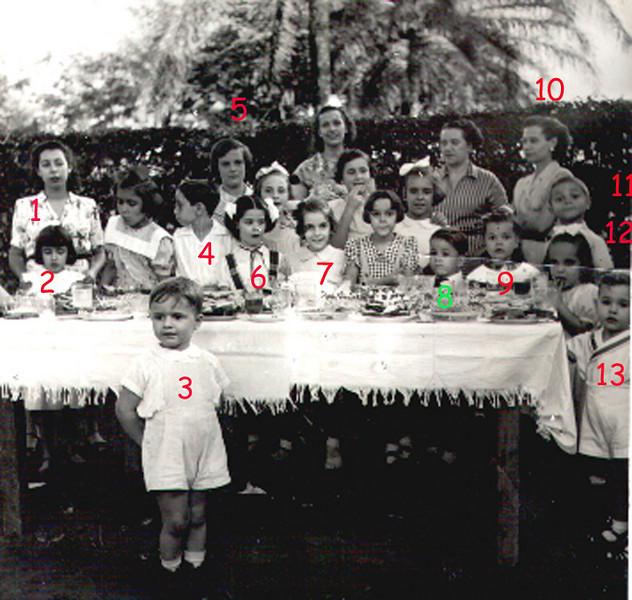 """Dundo 1952 1 - Aida Maria (Aidinha, filha da Milena Noronha Feyo) 2 - Linita Laranjo (Lina Dulce Laranjo) 3 - Eduardo Calisto;4 - José Luís Machadfo Feronha;  5 - Raquel Conde, 6 - Nita Feronha (Nita Machado Feronha) 7-Maria João Alho, 8 - Gaby Sucena, 8- Jorge """"Victor Santos"""" 9- Tininha Santos 10 - Lurdes Feronha 11 - Johnny Rego 12 - Bétinha (Maria Eduarda Olímpio de Sousa) 13 - Zé Pina (José Manuel Pina), 14 - Amélia Alho"""