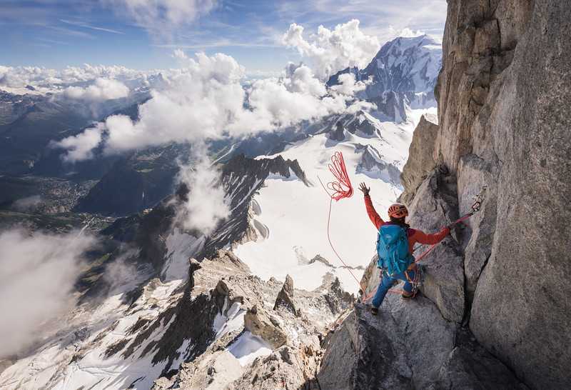 Rappelling from the Dent du Geant, France/Italy